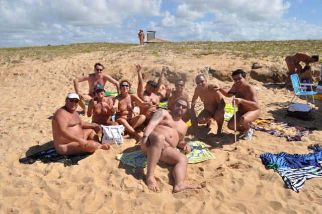 O grupo na praia