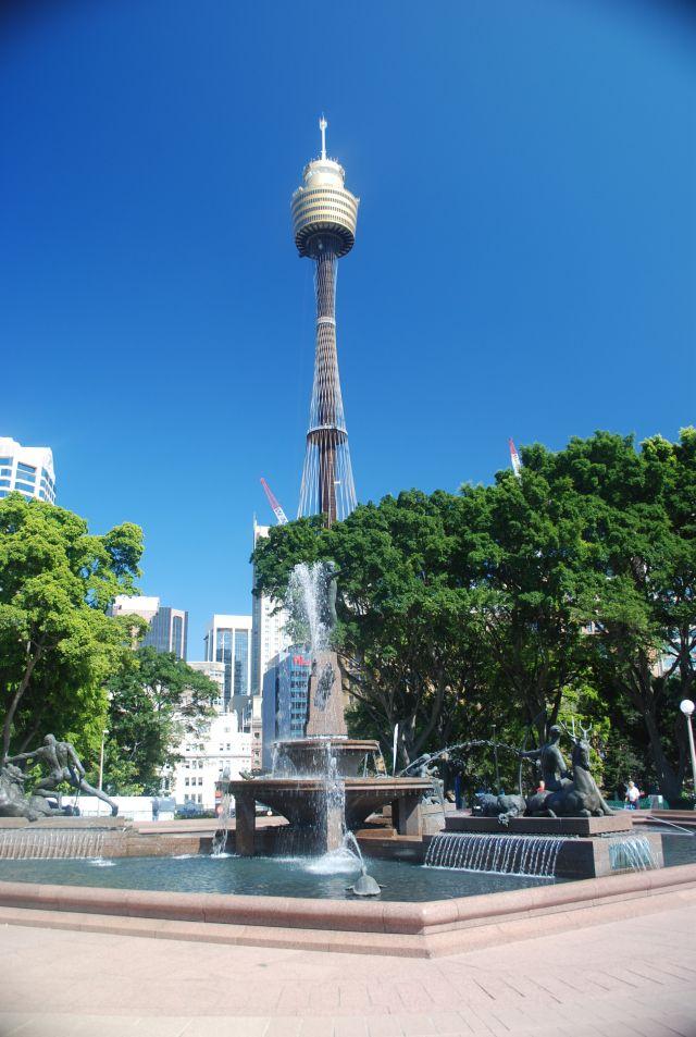 Surge no meio do parque a Torre de Sydney