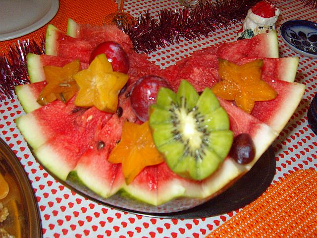As deliciosas frutas servidas junto com a ceia