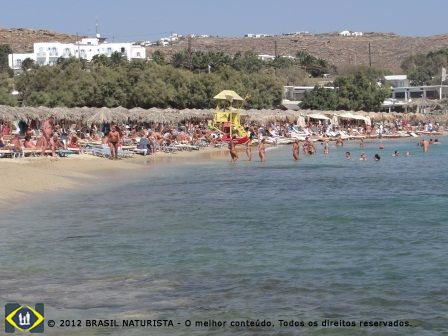 Paraga Beach na Ilha de Mykonos na Grécia