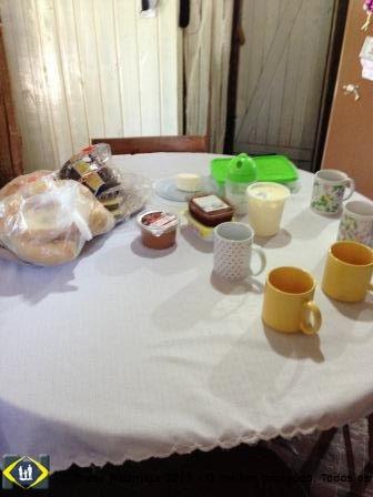 A mesa do café da manhã...