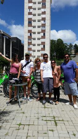 Vai ser dada a largada do tour de bicleta pelos ciclovias do parque.. Foto: Nivia Guirra