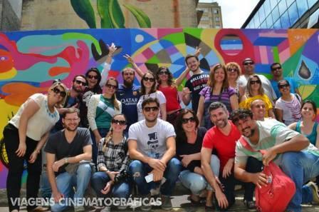 Praça para celebrar a cultura da bicicleta foi o cenário para a foto dos blogueiros.
